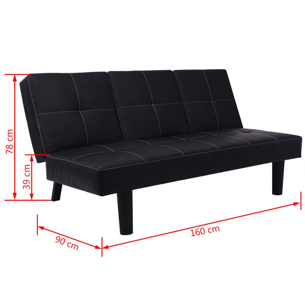 Sofa Bed with Drop-Down Table Artificial Leather Black 6