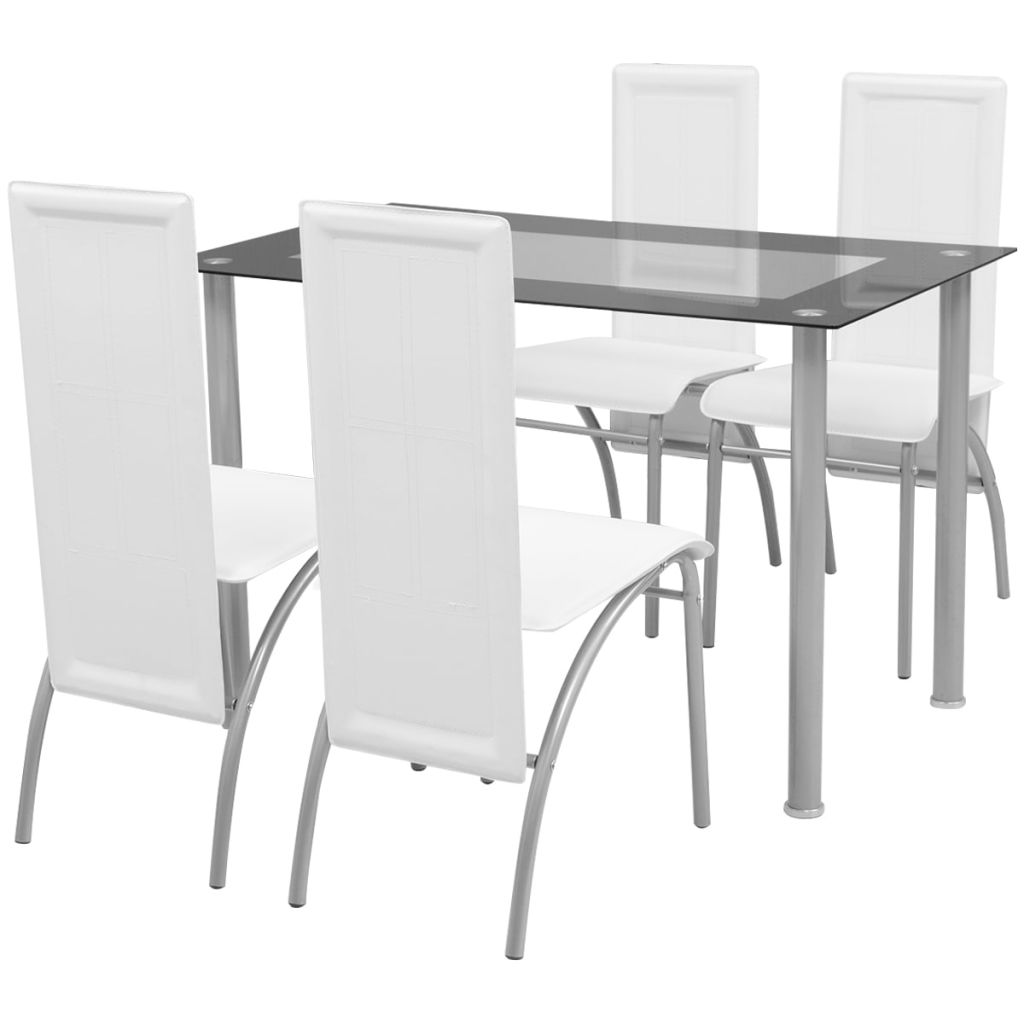 Five Piece Dining Set White 1
