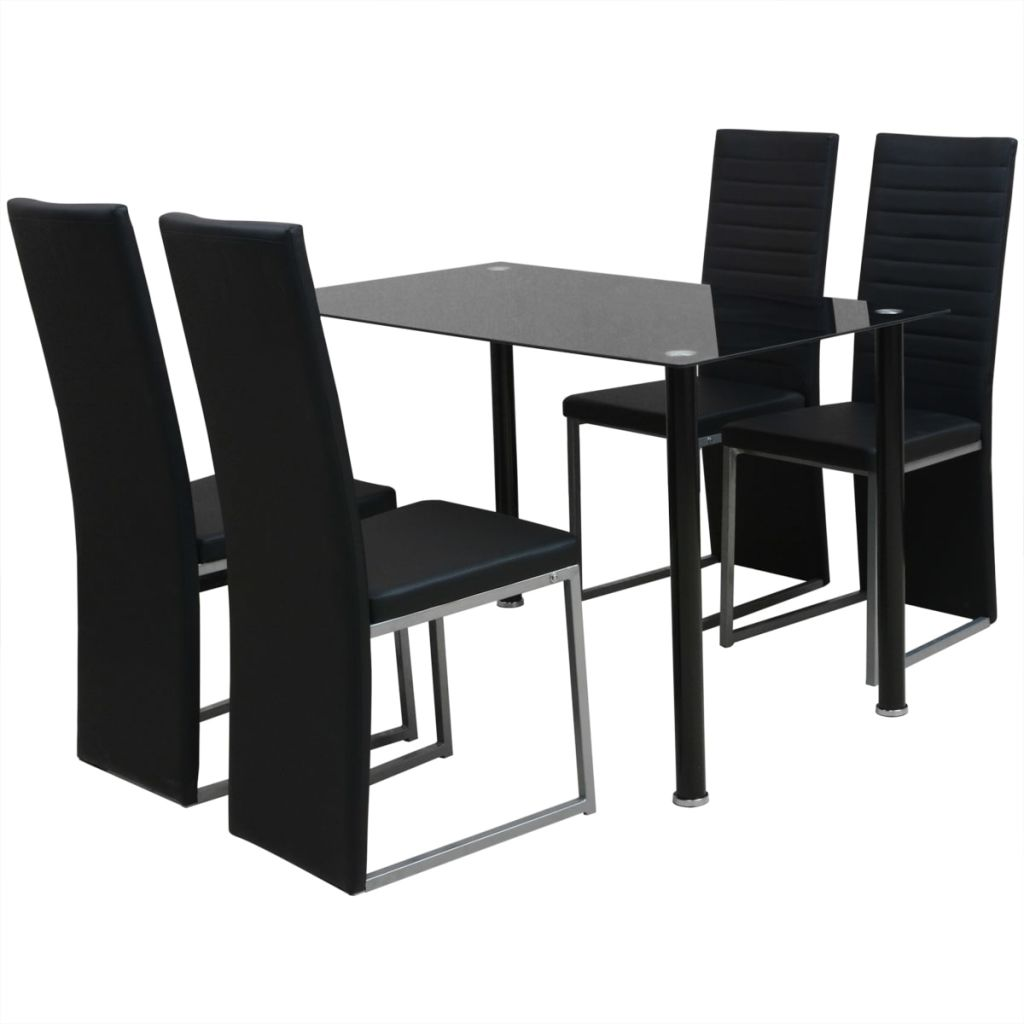 Five Piece Dining Set Black