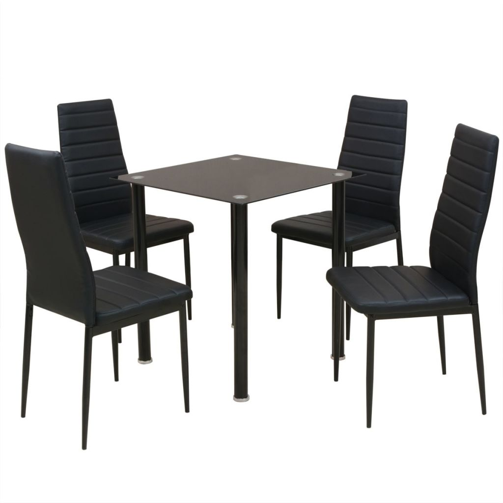 Five Piece Dining Table and Chair Set Black 1