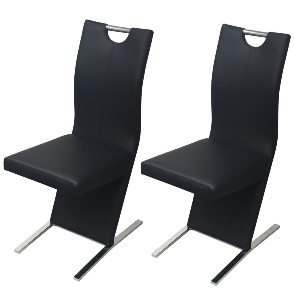 Dining Chairs 2 pcs Black Faux Leather