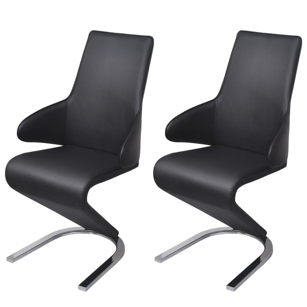 Dining Chairs 2 pcs Black Faux Leather 1
