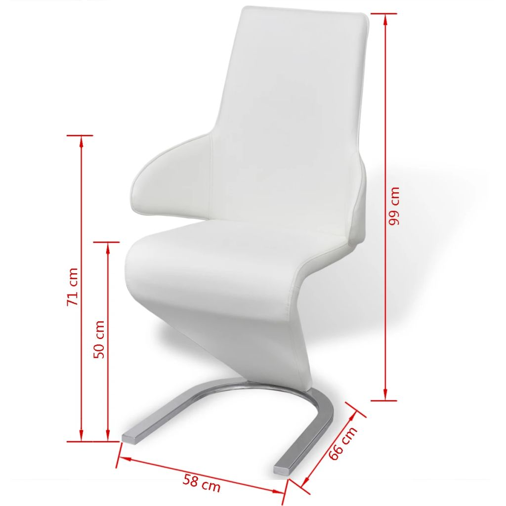 Dining Chairs 2 pcs White Faux Leather 7