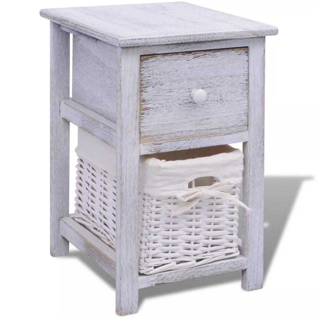 Bedside Cabinet Wood White 2