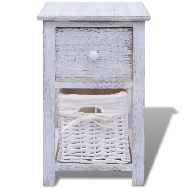 Bedside Cabinet Wood White 3