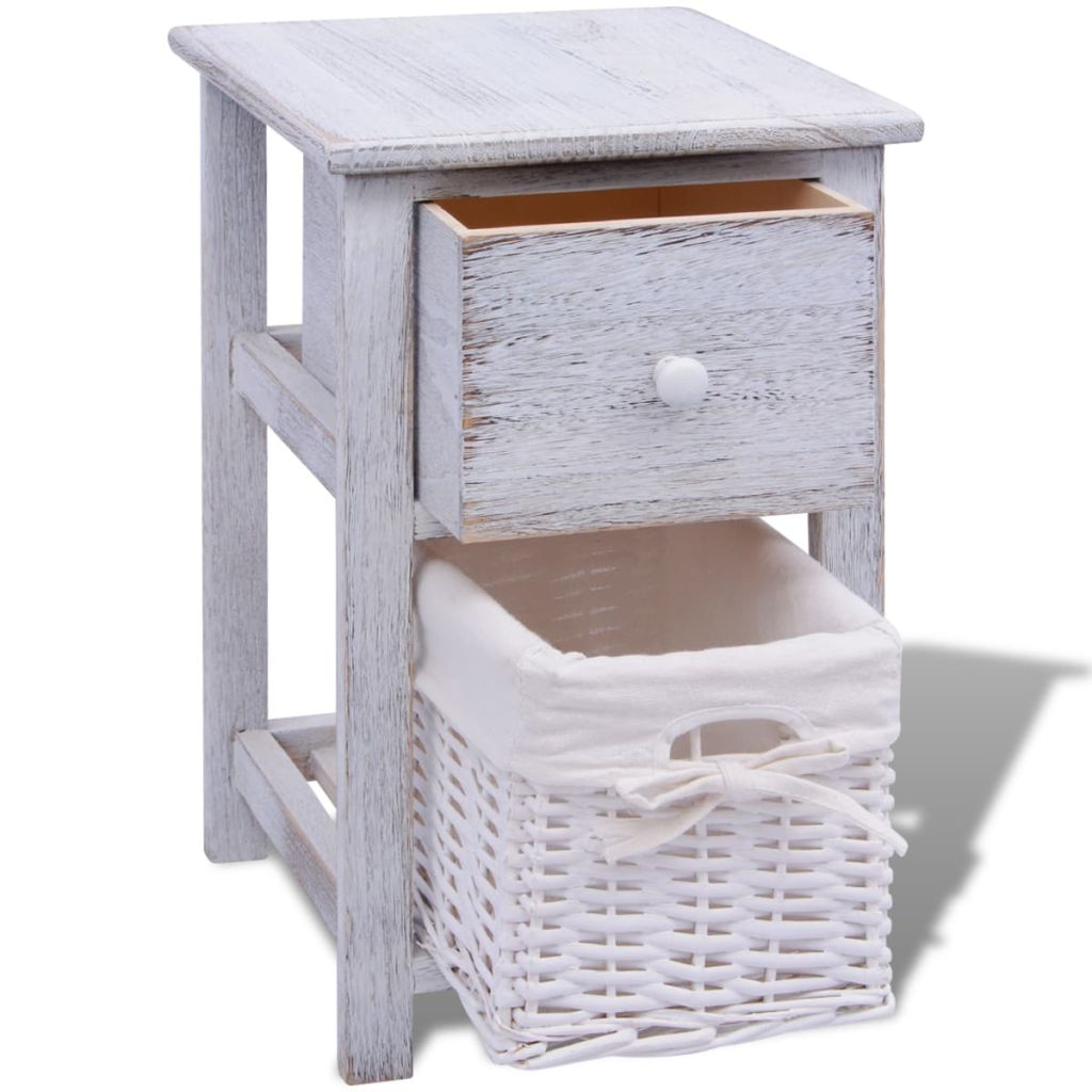 Bedside Cabinet Wood White 4