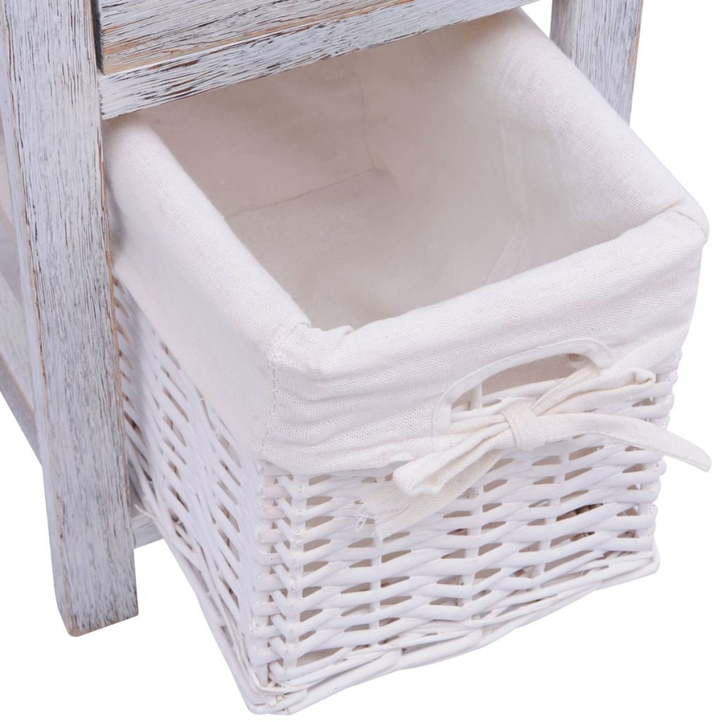 Bedside Cabinet Wood White 6