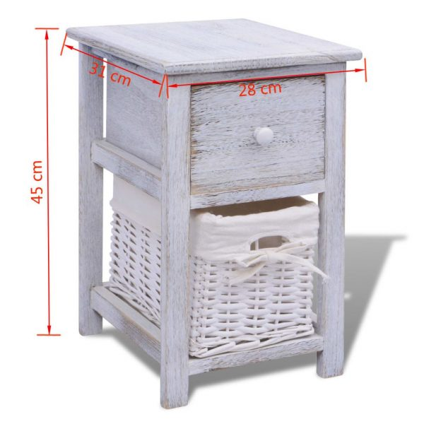 Bedside Cabinet Wood White 7