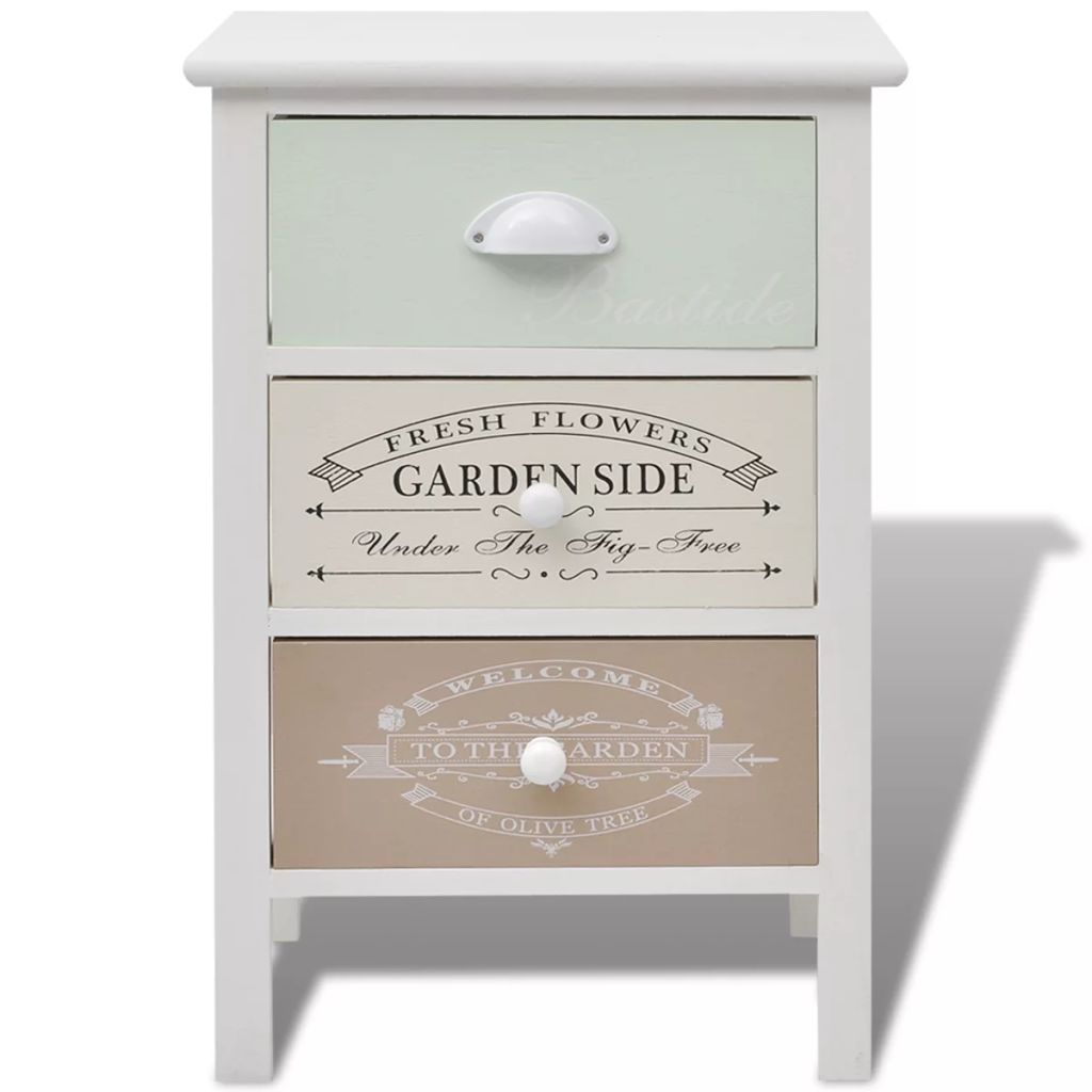 French Storage Cabinet 3 Drawers Wood 3