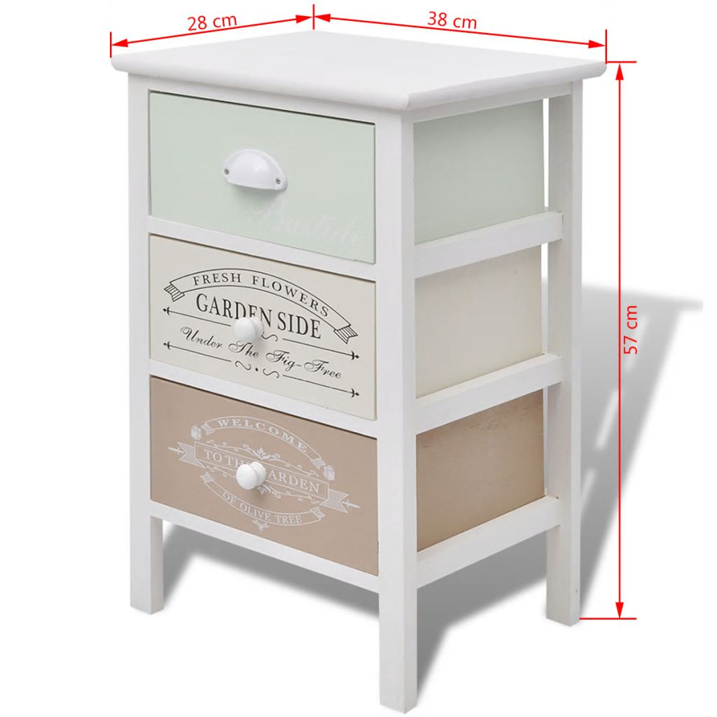 French Storage Cabinet 3 Drawers Wood 6