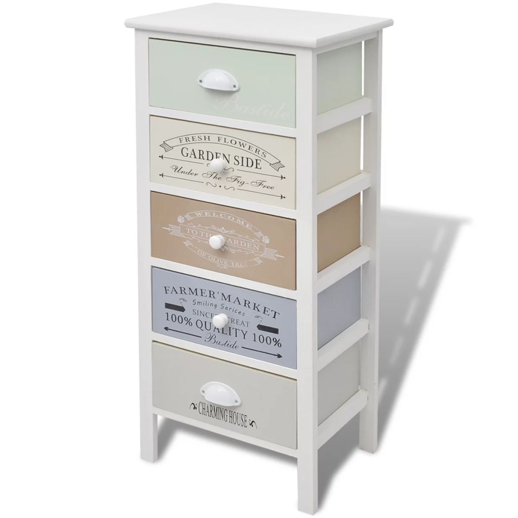 French Storage Cabinet 5 Drawers Wood 2