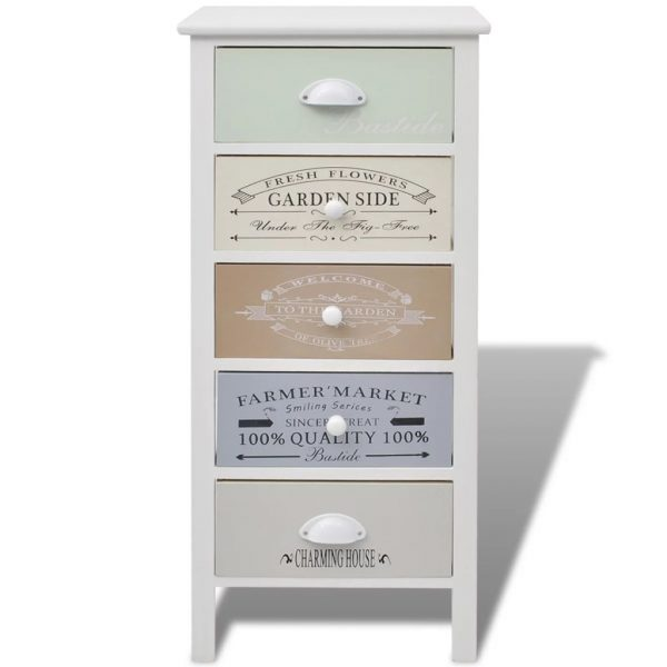 French Storage Cabinet 5 Drawers Wood 3