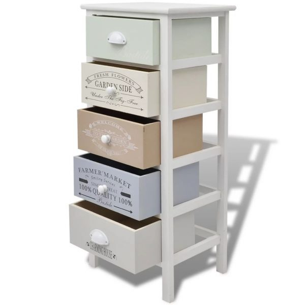 French Storage Cabinet 5 Drawers Wood 4