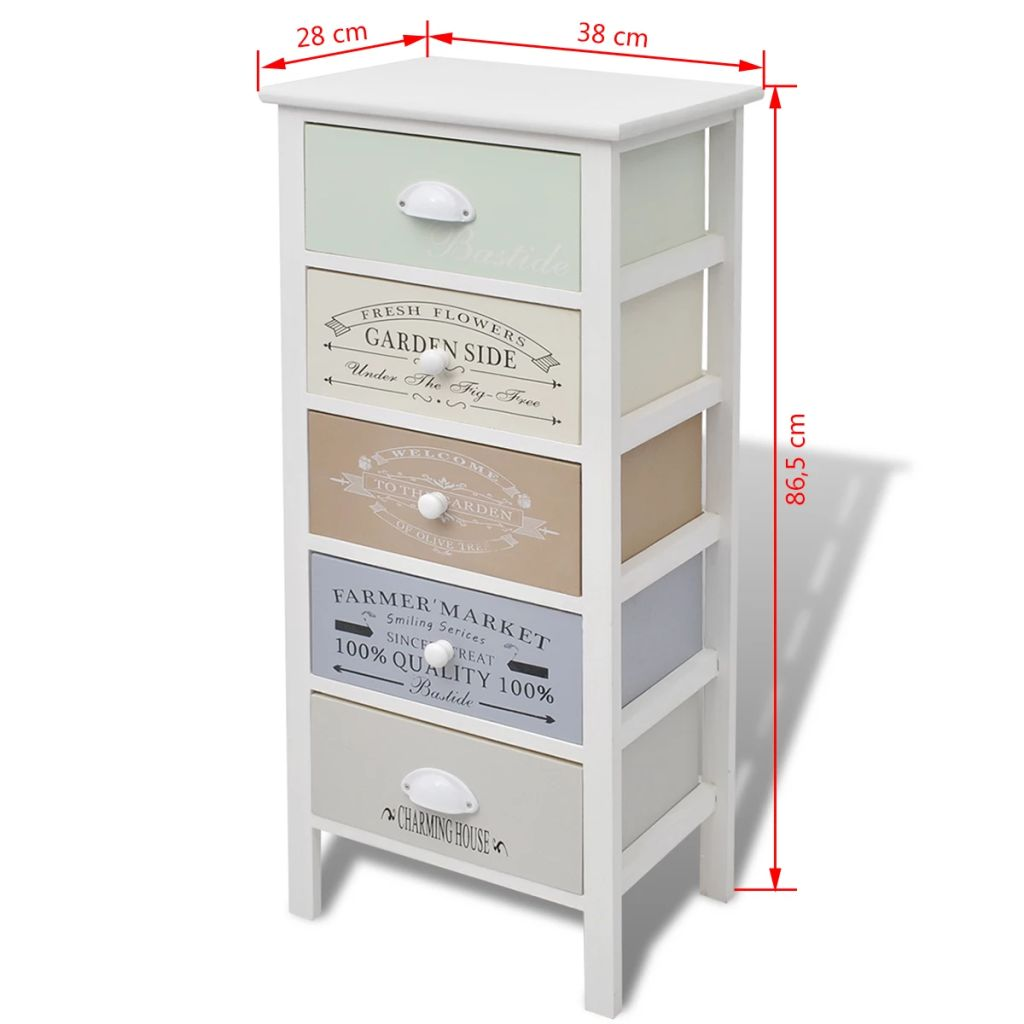 French Storage Cabinet 5 Drawers Wood 6