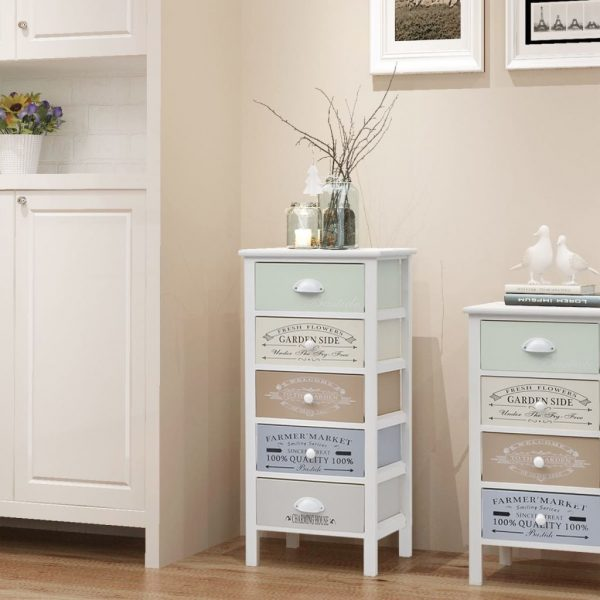 French Storage Cabinet 5 Drawers Wood 1