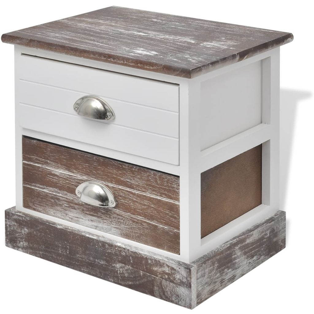 Bedside Cabinet Brown and White 2