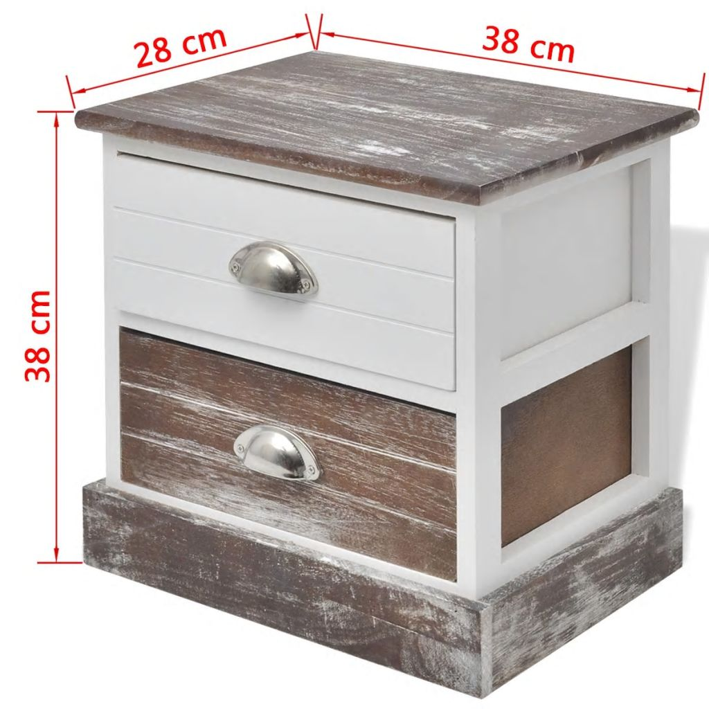 Bedside Cabinet Brown and White 8