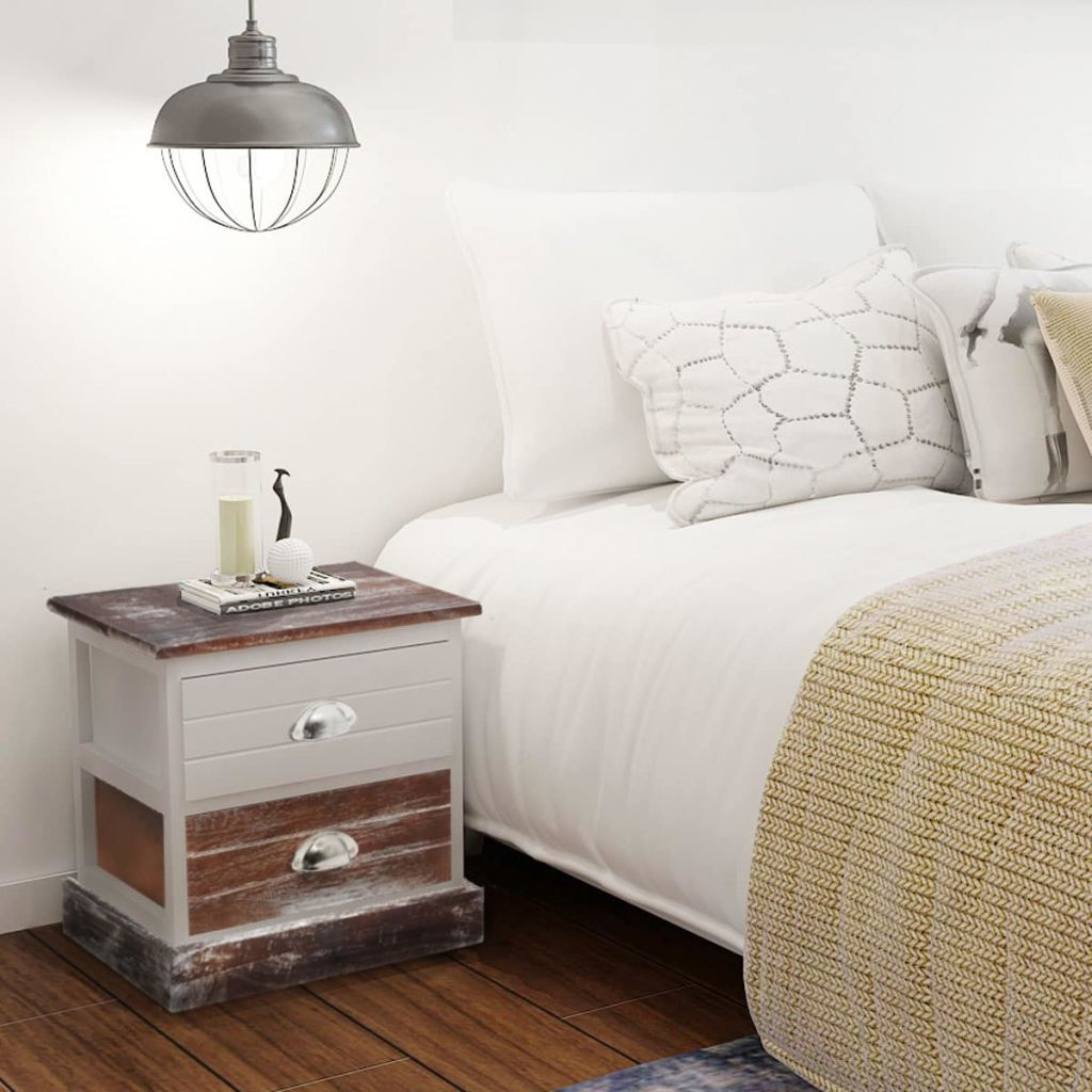 Bedside Cabinet Brown and White 1