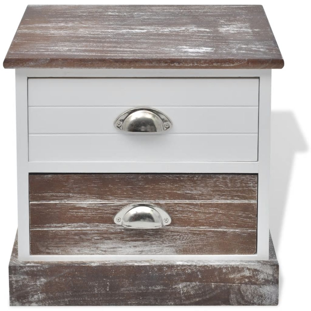 Bedside Cabinets 2 pcs Brown and White 3