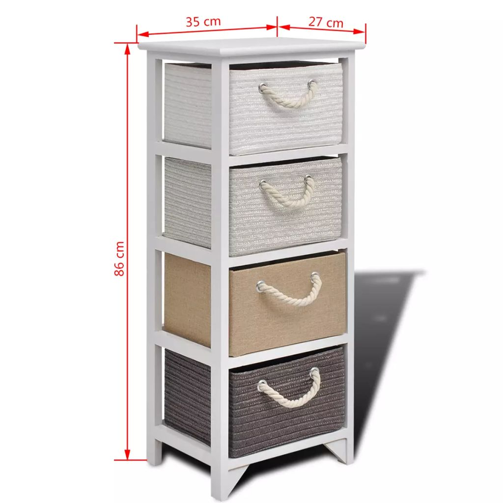 Storage Cabinet 4 Drawers Wood 6