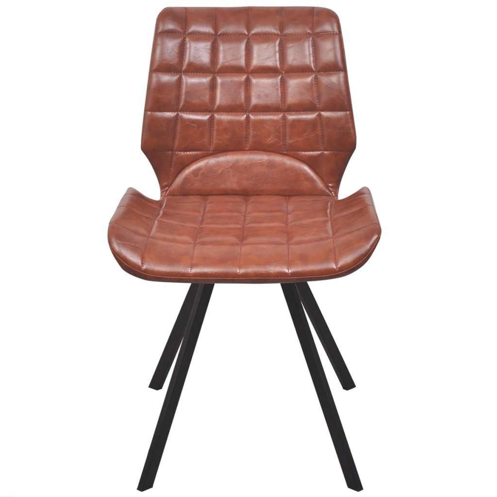 Dining Chairs 2 pcs Brown Faux Leather 3