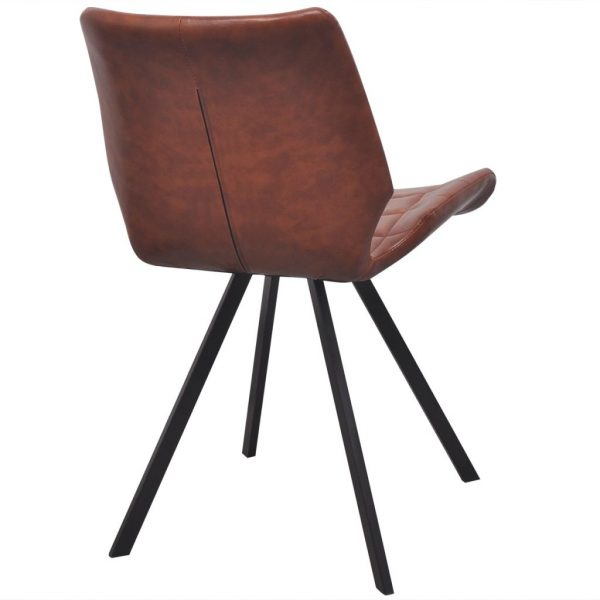 Dining Chairs 2 pcs Brown Faux Leather 5