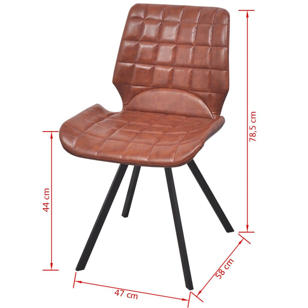 Dining Chairs 2 pcs Brown Faux Leather 7