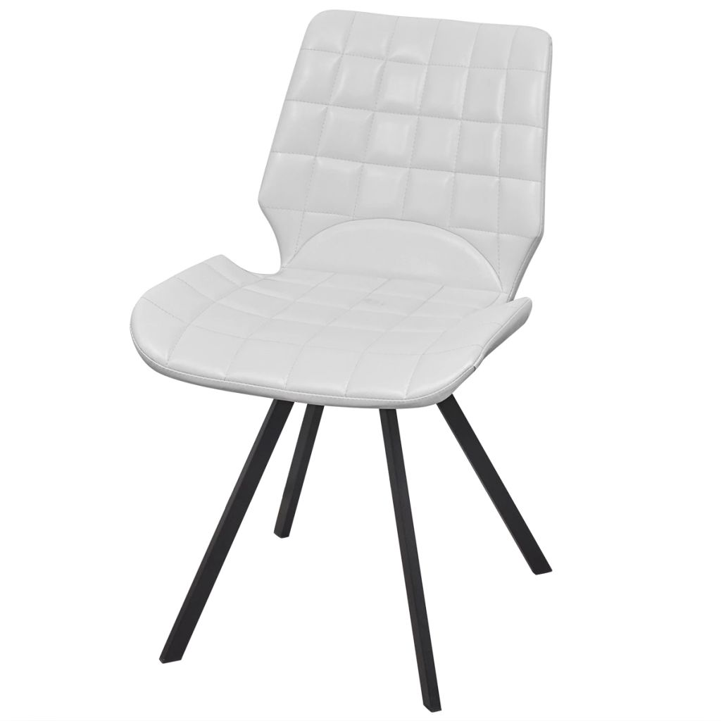 Dining Chairs 4 pcs White Faux Leather 2