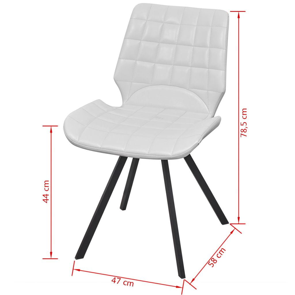 Dining Chairs 4 pcs White Faux Leather 7