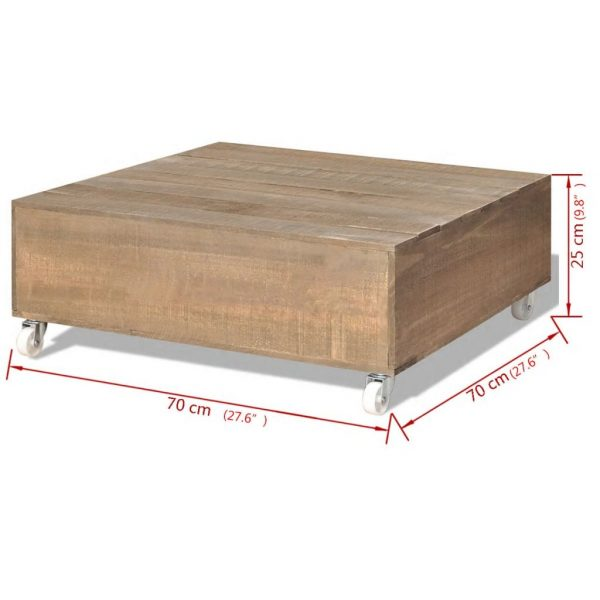 Coffee Table Brown Solid Wood 5