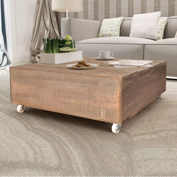 Coffee Table Brown Solid Wood 1