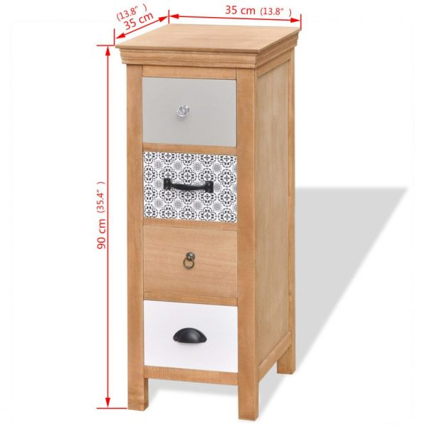 Drawer Cabinet 35x35x90 cm Solid Wood 6