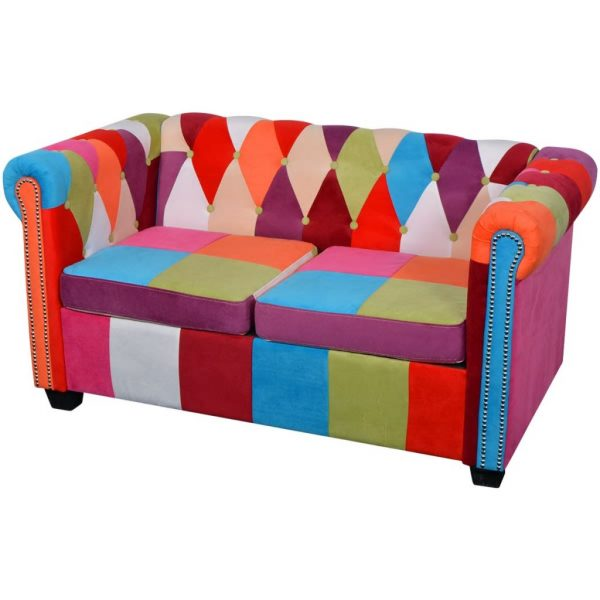 Chesterfield Sofa 2-Seater Fabric 1