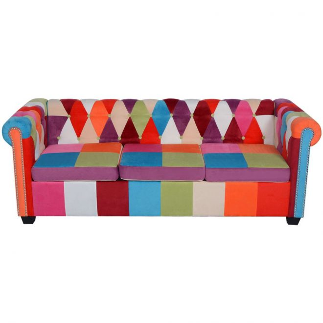 Chesterfield Sofa 3-Seater Fabric 3