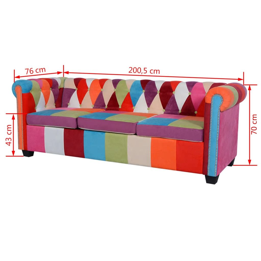 Chesterfield Sofa 3-Seater Fabric 5