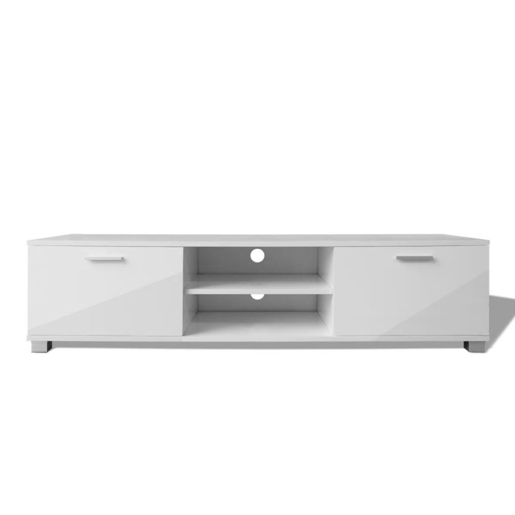 TV Cabinet High-Gloss White 140×40.3×34