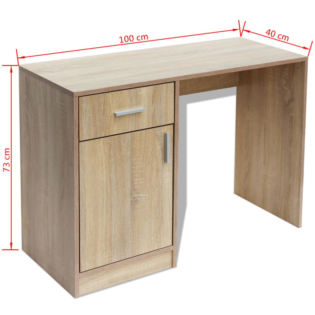 Desk with Drawer and Cabinet Oak 100x40x73 cm 6