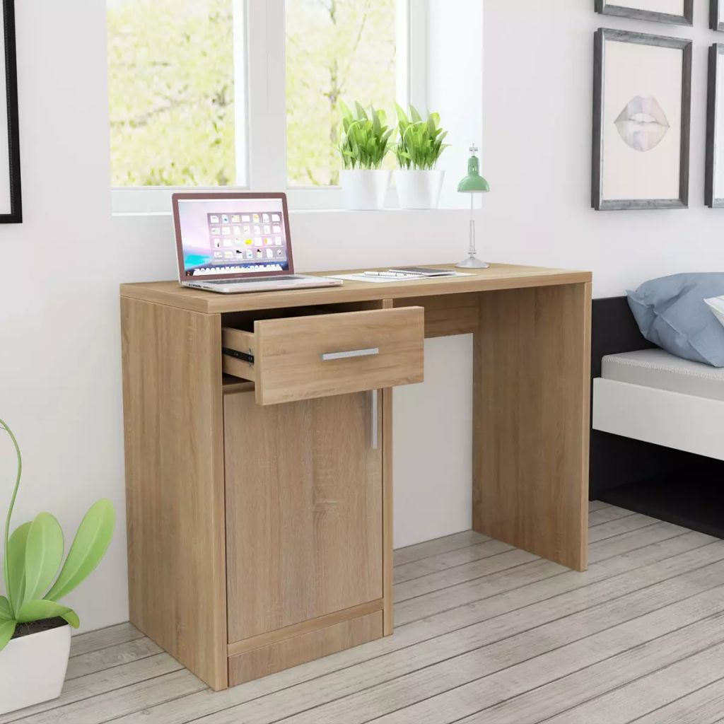 Desk with Drawer and Cabinet Oak 100x40x73 cm 1