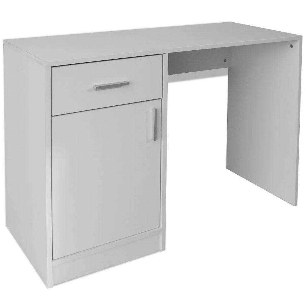 Desk with Drawer and Cabinet White 100x40x73 cm 2