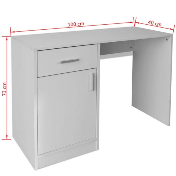 Desk with Drawer and Cabinet White 100x40x73 cm 6