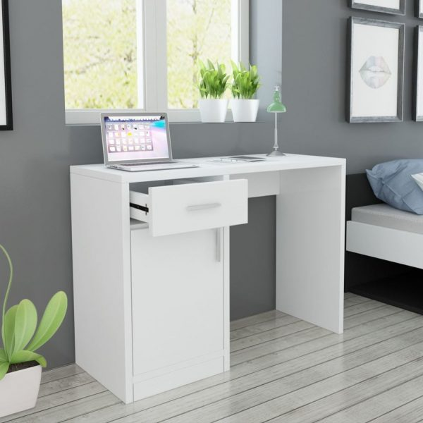 Desk with Drawer and Cabinet White 100x40x73 cm 1