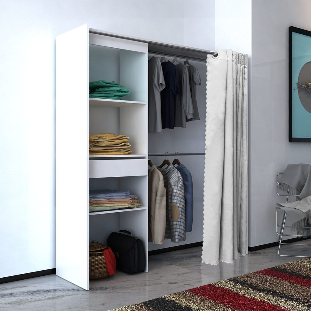 Cloth Cabinet with Curtain Adjustable in Width 121-168 cm White 1