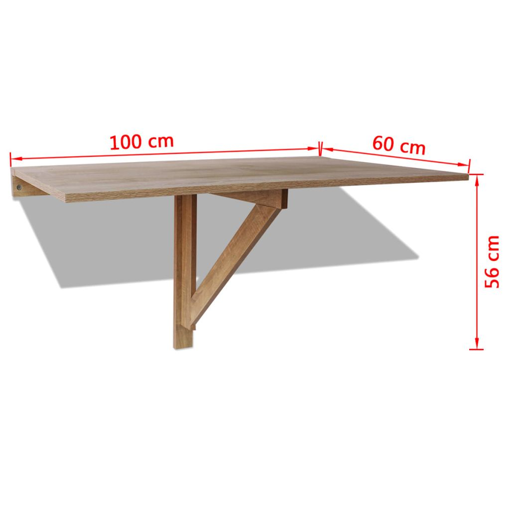 Folding Wall Table Oak 100×60 cm 6