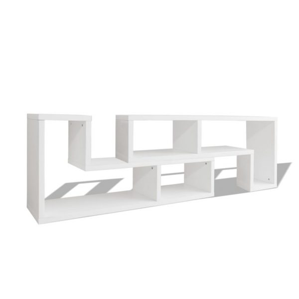 TV Cabinet Double L-Shaped White 2