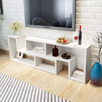 TV Cabinet Double L-Shaped White 1