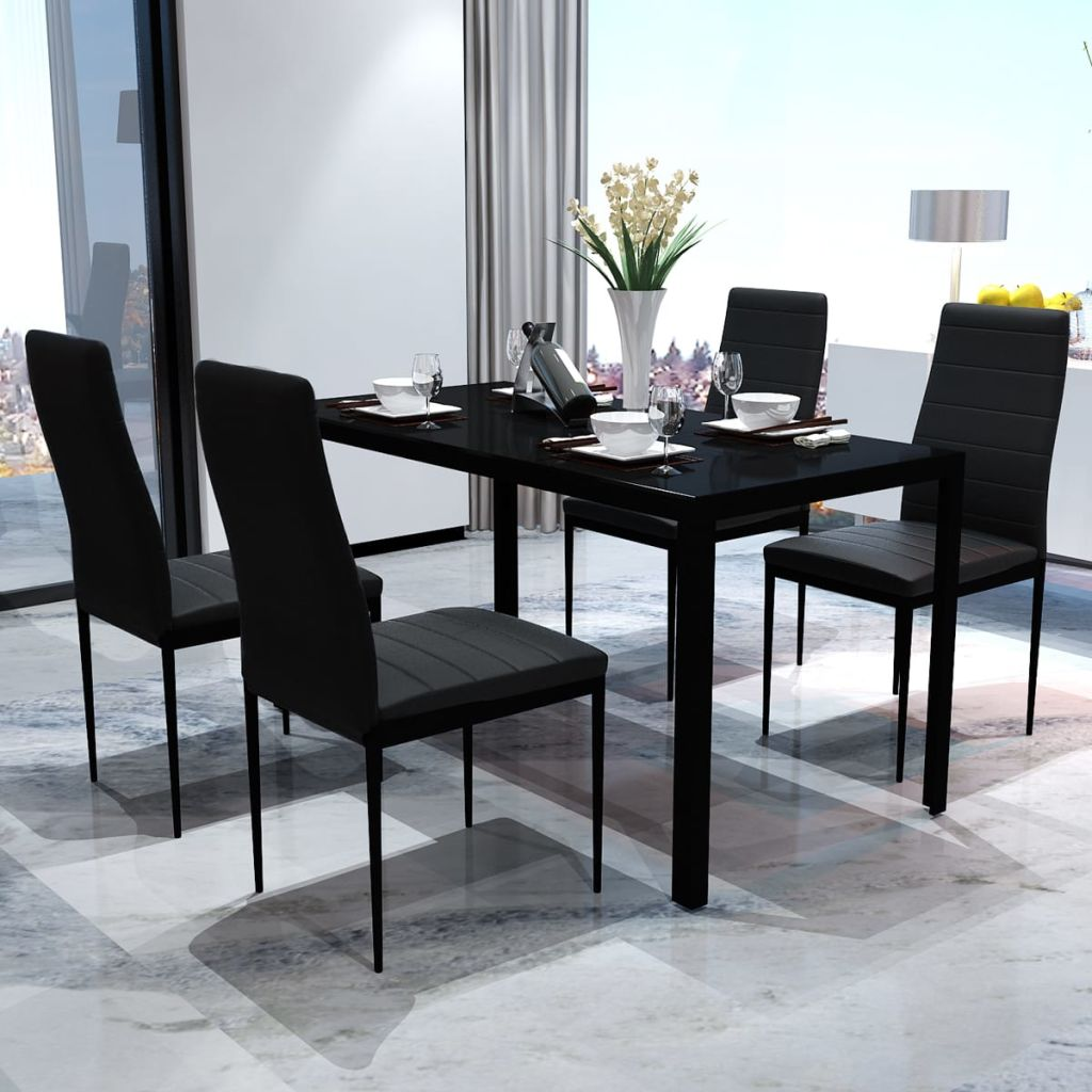 Five Piece Dining Table Set Black 1