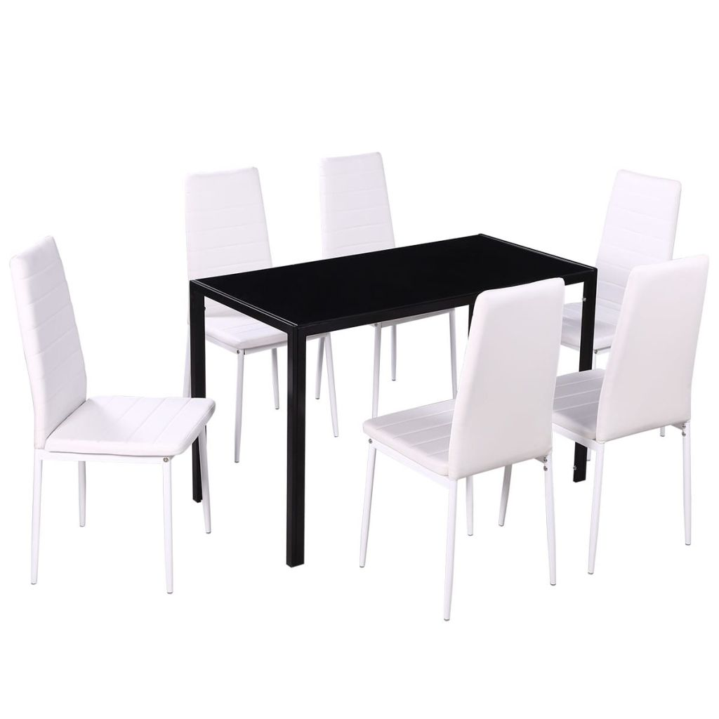 Seven Piece Dining Table Set Black and White 2