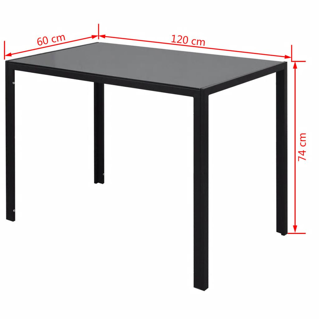 Seven Piece Dining Table Set Black and White 7