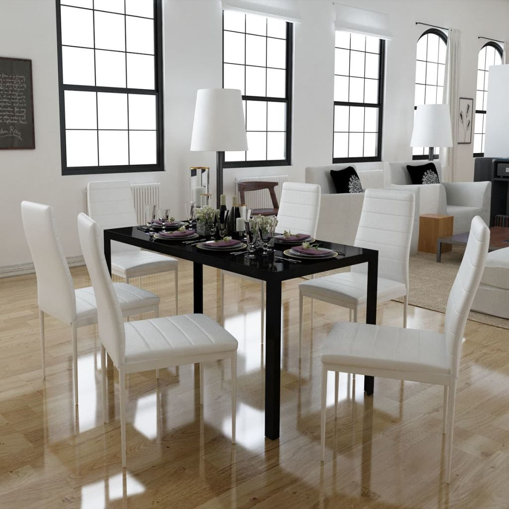 Seven Piece Dining Table Set Black and White 1