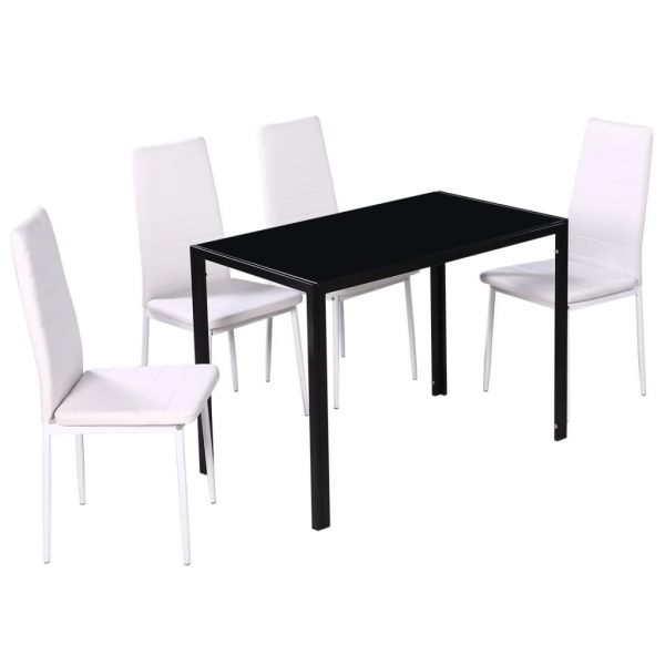 Five Piece Dining Table Set Black and White 3